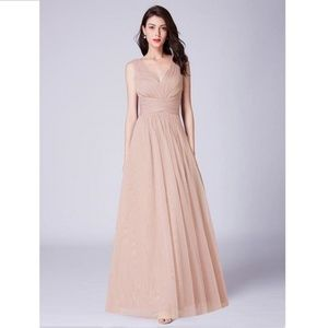 Blush A line V neck Long Tulle Pleated Bodice